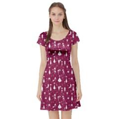 Burgundy Cat Short Sleeve Skater Dress