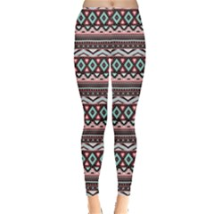 Pink Tribal Aztec Chevron Stripes Leggings by CoolDesigns