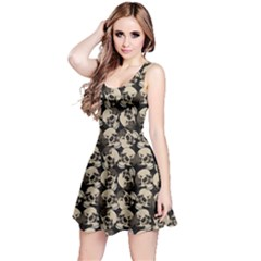 Black Skulls Pattern Sleeveless Skater Dress