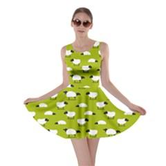 Neon Green Wolfs Dressed In Sheeps Skater Dress