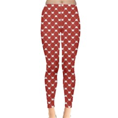 Red Heart Pattern On Red Leggings by CoolDesigns