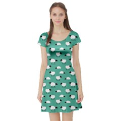 Green Wolf In Sheeps Clothing Wolf Dressed Short Sleeve Skater Dress by CoolDesigns