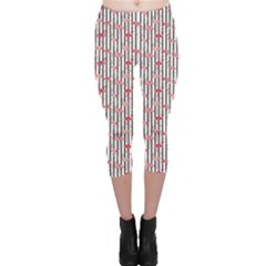 Pink Flamingo Bird retro Pattern in Capri Leggings by CoolDesigns