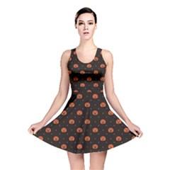 Black Black D Polka Dots Pattern With Halloween Pumpkin Reversible Skater Dress