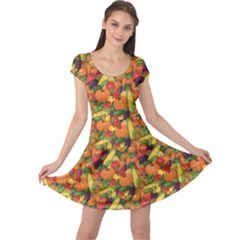 Orange Pattern Fresh Ripe Stylized Vegetables Cap Sleeve Dress by CoolDesigns