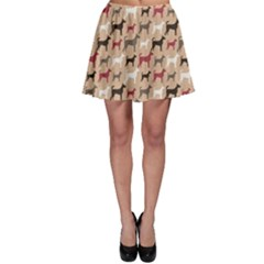 Brown Animal Pattern Of Dog Silhouettes Endless Skater Dress