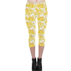 Yellow Cheese Pattern Capri Leggings by CoolDesigns