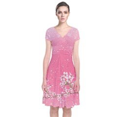 Blossom Pinky Japanese Style Cherry Blossom Short Sleeve Front Wrap Dress
