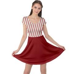 Red Green Stripes Cap Sleeve Dress