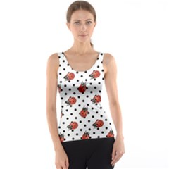 Red Ladybugs Black Polka Dots Pattern Tank Top by CoolDesigns