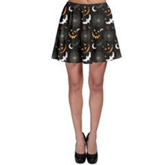 Black Halloween Horror Symbols Pattern Available Skater Skirt by CoolDesigns