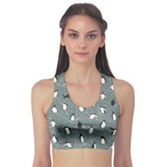 Blue Pattern With Little Cute Penguins On Blue Women s Sport Bra by CoolDesigns