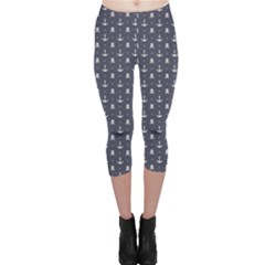 Blue Pattern Anchors And Skulls Capri Leggings by CoolDesigns