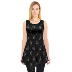Black Tyrannosaurus Dinosaur Doodle Pattern Sleeveless Tunic Top by CoolDesigns