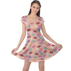 Pink Cute Retro Colored Macarons Pattern Cap Sleeve Dress by CoolDesigns
