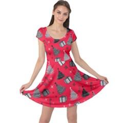 Hot Pink Xmas Cap Sleeve Dress