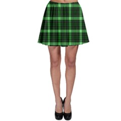 Xmas Green Tartan Skater Skirt by CoolDesigns