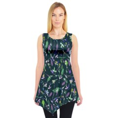 Teal Floral Sleeveless Tunic Top by CoolDesigns