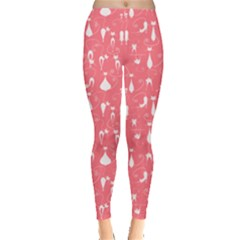 Pink Cute White Cats Pattern Leggings by CoolDesigns