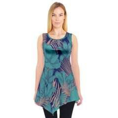 Aqua Floral Sleeveless Tunic Top by CoolDesigns