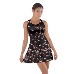 Flamingo Floral Black Cotton Racerback Dress by CoolDesigns