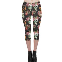 Colorful Beautiful Pattern With Nice Watercolor Skull And Flowers Capri Leggings by CoolDesigns