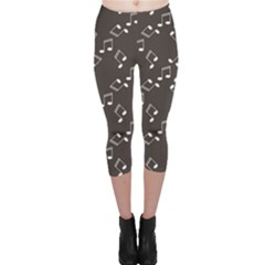 Black Music Elements Notes Web Flat Design Gray Pattern Capri Leggings by CoolDesigns