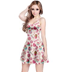 Pink Yummy Colorful Sweet Lollipop Candy Macaroon Cupcake Donut Seamless Sleeveless Skater Dress