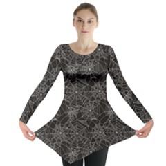 Black Halloween Spider Web Pattern Long Sleeve Tunic Top