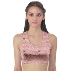 Pink Pattern With Cats Women s Sport Bra by CoolDesigns