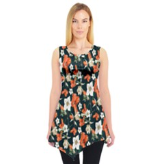 Tealorange Floral Sleeveless Tunic Top by CoolDesigns
