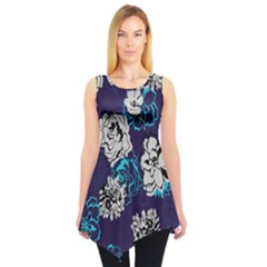 Purple Floral Sleeveless Tunic Top by CoolDesigns