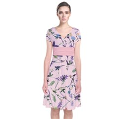 Pinky Floral  Short Sleeve Front Wrap Dress