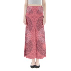 Coral Damask Maxi Skirt by CoolDesigns