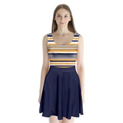 Yellow Navy Stripes Split Back Mini Dress  by CoolDesigns