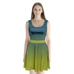 Neon Green Chevron Split Back Mini Dress