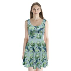 Blue Leaves Split Back Mini Dress  by CoolDesigns