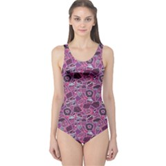 Purple Pattern With Sweet Food Cakes Chocolate Icecream Women s One Piece Swimsuit by CoolDesigns