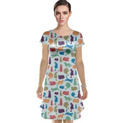 Blue Colorful Cats Silhouettes Pattern Cap Sleeve Nightdress by CoolDesigns