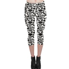 Black Pattern With Cartoon Cows Black And White Capri Leggings by CoolDesigns