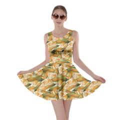 Colorful Vegetable Organic Food Yellow Corn Stalk Pattern Skater Dress by CoolDesigns