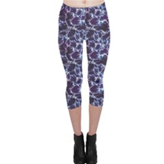 Blue Blue Electric Lightning Pattern Capri Leggings by CoolDesigns