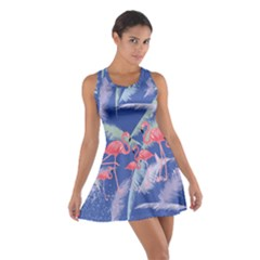 Flamingo Feather  Blue Cotton Racerback Dress by CoolDesigns