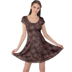 Brown Pattern Of Big Eyed Owls Family On Tree At Night Cap Sleeve Dress by CoolDesigns