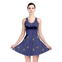 Blue Pattern Owls In The Night Forest Reversible Skater Dress