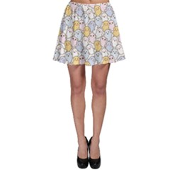 Colorful Kawaii Cartoon Pattern Cute Ghosts Skater Skirt by CoolDesigns