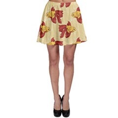 Red Goldfish Pattern Skater Skirt by CoolDesigns