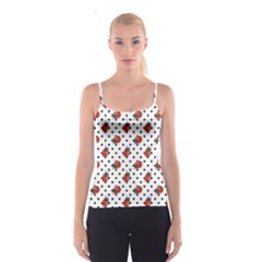 Red Ladybugs Black Polka Dots Pattern Spathetti Strap Top by CoolDesigns