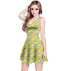 Green Pattern With Yellow Ducks Sleeveless Skater Dress by CoolDesigns