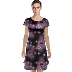Purple Abstract Pattern Space With Stars Cap Sleeve Nightdress by CoolDesigns